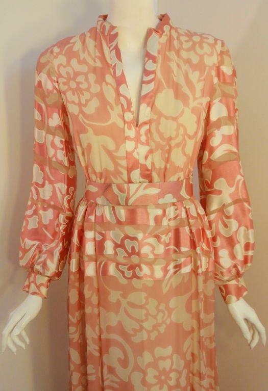 CEIL CHAPMAN 1960s Pink and White Silk Chiffon Go… - image 8