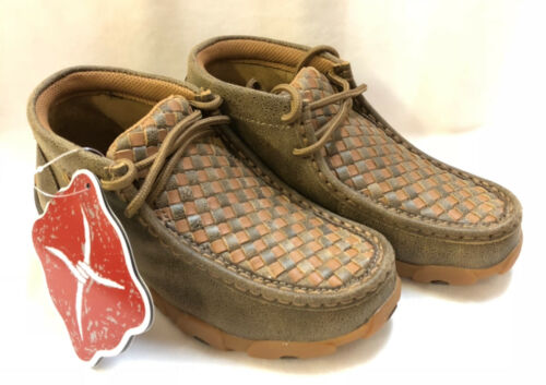 Details about  /Twisted X Casual Shoes Kids Driving Mocs Lace Up Bomber Tan YDM0030