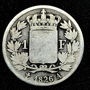 FRANCE-CHARLES-X-1-FRANC-1826A-CIRCULATED-KM-724-1-SCARCE-SILVER-COIN