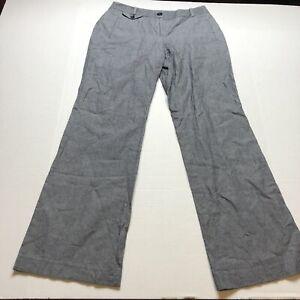 Loft-Julie-Fit-Gray-Stripe-Linen-Blend-Pants-Size-4-A1766