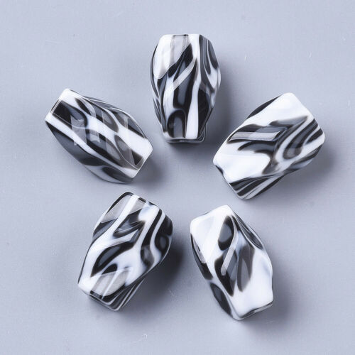 10pcs Opaque Resin Beads Nugget Leopard Printed Large Loose Spacers Black 22.5mm