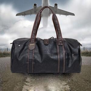 Large-Capacity-Leather-Weekend-Bag-Duffle-Sports-Cabin-Holdall-Shoulder-Bag-UK