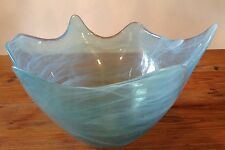 LARGE Vidrios San Miguel Hand-Made In Spain Turquoise Blue Glass Scalloped Bowl