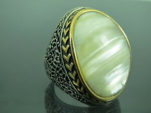 Turkish-Handmade-Jewelry-925-Sterling-Silver-Pearl-Stone-Men-039-s-Ring-Sz-11