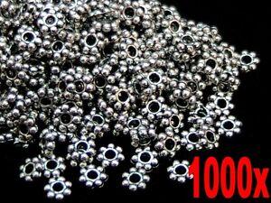 100 Pcs 6mm Plata Tibetana Daisy Espaciador Perlas Abalorios Joyeria Craft hallazgos W106