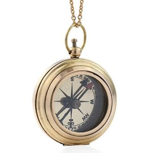 3-in-1-3X-Magnifier-Compass-ION-Plated-Yellow-Gold-Chain-Pendant-32-034-Wooden-Box