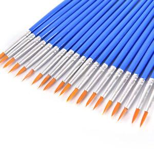 10x cabello artista de nylon pintura Pincel acrílico acuarelas redondo fino