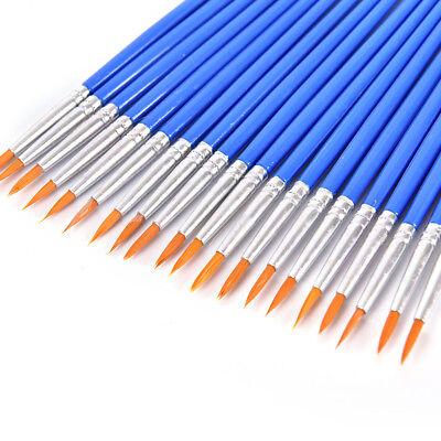 10X Nylon Hair Artist Paint Brush Acrílico Acuarela Round Fine Hand Point TipSC