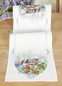 Vervaco Table Runner Coal Tits Cross Stitch Kit