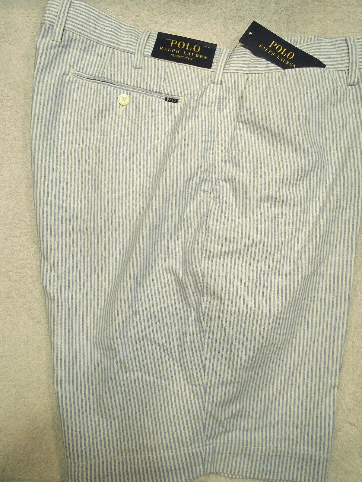 Polo Ralph Lauren 100% Cotton bluee Oxford Stripe  Shorts NWT 38 Waist