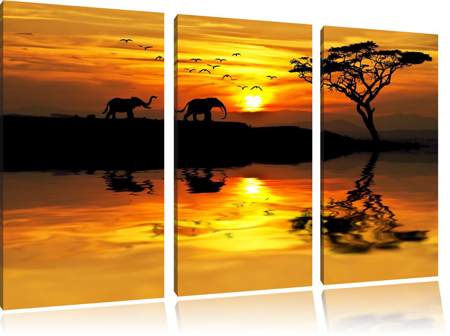 Elefanti in Africano Steppa 3-Teiler Quadro su Tel Decorazione Parete Stampa