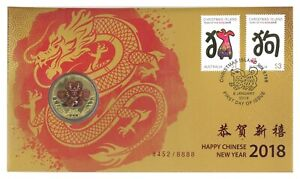 Australia-2018-Year-of-The-Dog-Happy-New-Year-Dragon-1-Coin-amp-Stamp-PNC-Cover