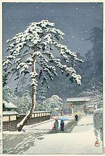 HASUI  JAPANESE Hand Printed Woodblock Print - Honmon-ji Temple in Ikegami Snow