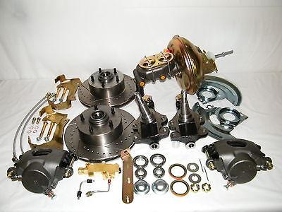 """GM Front Disc Brake Conversion Kit 2"""" Drop Spindles Booster Master Cylinder"""