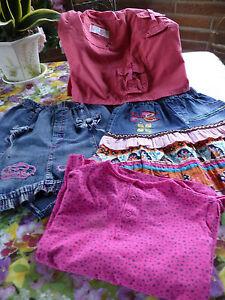 Jupes-et-tee-shirts-4-articles-pour-fillette-5-6-ans-pour-l-ete-adorables