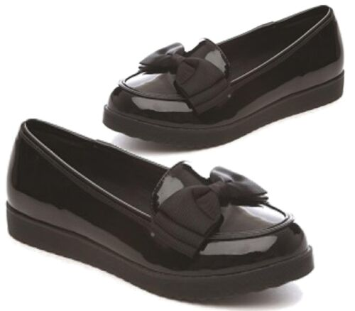 CHILDRENS GIRLS LOW HEEL FLAT LOAFERS BOW SCHOOL BLACK PATENT SLIP ON SHOES 13-2