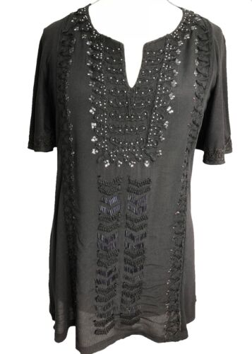New Summer Black Boho Kaftan Tunic Top with Metalic Embroidered Detail** 8 to 22