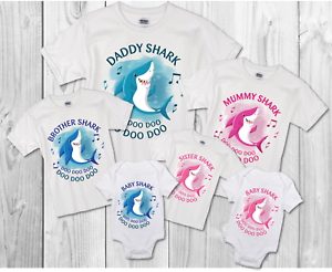 BABY SHARK FAMILY T-SHIRTS mUMMY//DADDY//BROTHER//SISTER//BABY