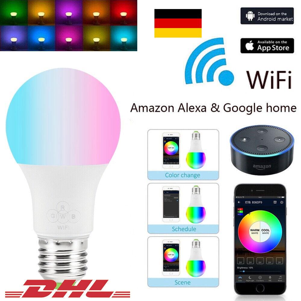 LED Smart Glühbirne Licht E27 RGB+CW Birne WiFi Lampen Google Home Alexa PC PA