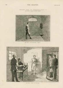 1873 - Antique Print PRISON LIFE Punishment Cells The Governor Convicts (149)