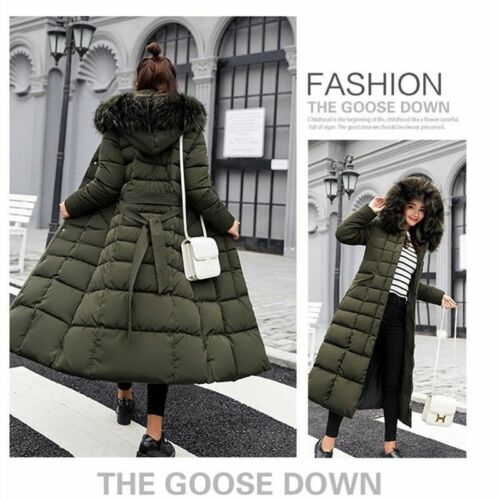Women/'s Winter Hooded Down Warm Jacket Long Quilted Coat Puffer Fur Collar Parka