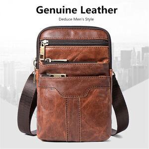 09380a845c376 Echt-Leder-Vintage-Schultertasche-Huefttasche-Herren-Tasche-Umhaengetasche-