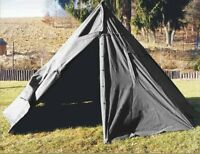 Genuine Ex-Army 2 MAN CANVAS TEEPEE TENT In Black Rain Ponchos festival camping