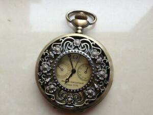 Collectible-bronze-verre-balle-mecanique-Montres-a-gousset-Table-de-poche-60mm