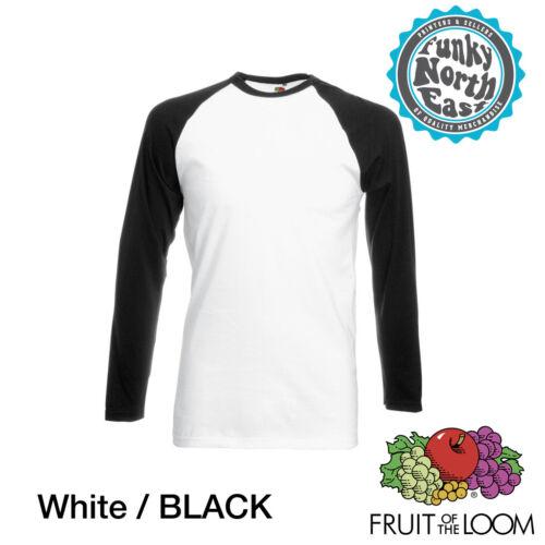 Fruit of the Loom Long Sleeve Baseball Cotton T-Shirt RAGLAN T FOTL Tee Top SS9
