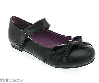 Chicas/Niños Escuela Táctil Negro Zapatos con un arco en la parte delantera YY11