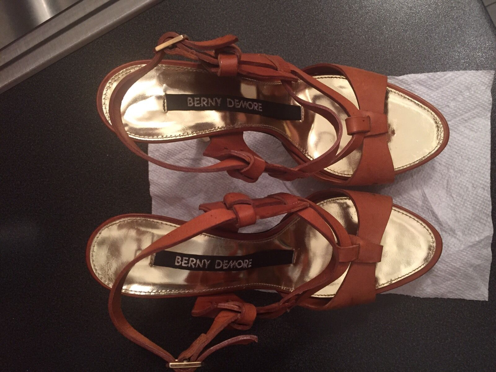 BERNY DEMORE Brown Leather Leather Leather Strappy Platform Stiletto SANDALS High Heels 39 1 2 ffd6ae
