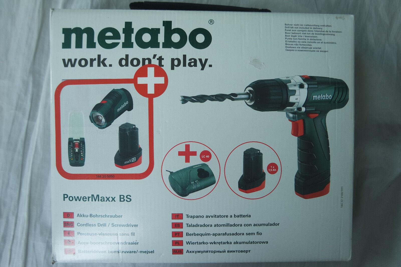 METABO Akku-Bohrschrauber POWERMAXX BS BASIC 2x Akku + Lampe Akkuschrauber