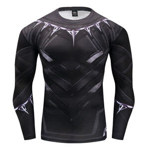 Black Panther 3D Printed Crossfit Men Compression T-Shirt Gym Cycling Tops Tee