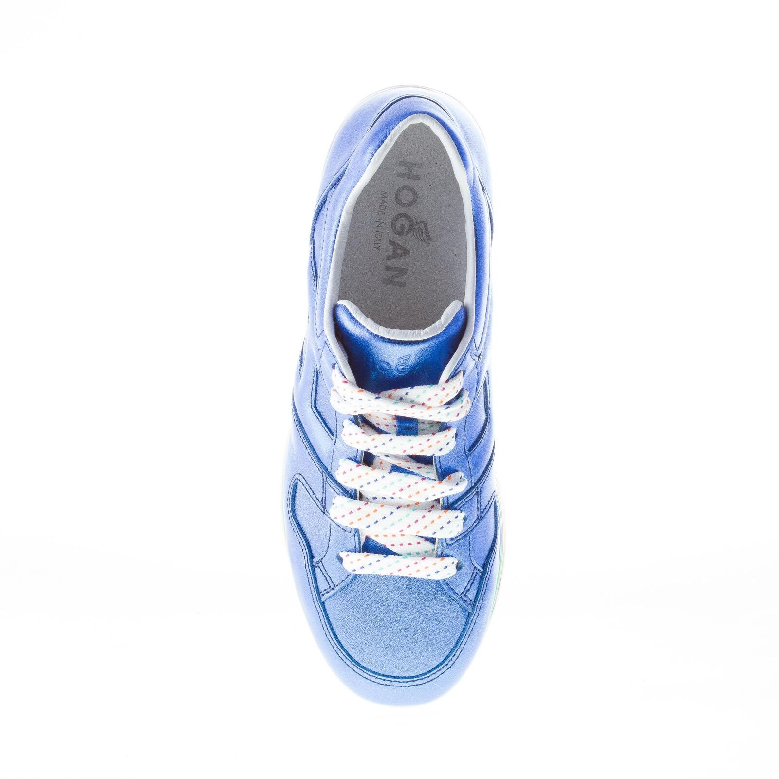 HOGAN femmes chaussures Maxi H222 bleutte metallic-effect leather baskets with with with wedge 4d4e12