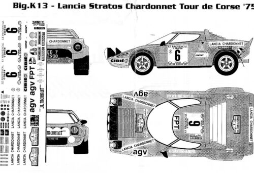 1//24 Lancia Stratos AGV CHARDONNET Rally Corsica 1975 RACING43 DECAL