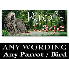 Personalizzata PAPPAGALLO africano GRIGIO Amazon Macaw SIGN TARGA VOLIERA Gabbia Uccello Casa