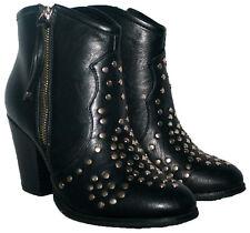 Señoras NEGRAS De Bota De Cowboy estilo botín con Broche de ajuste laterales y cremallera en Talla 6