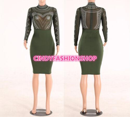 USA Women Lace Mesh Body con Long Sleeve Empire Elegant  Night Club Dress