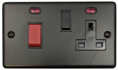 G/&h norme CFB29B plaque noir mat 45 A DP Cuisinière Switch /& 13 A Switched Socket