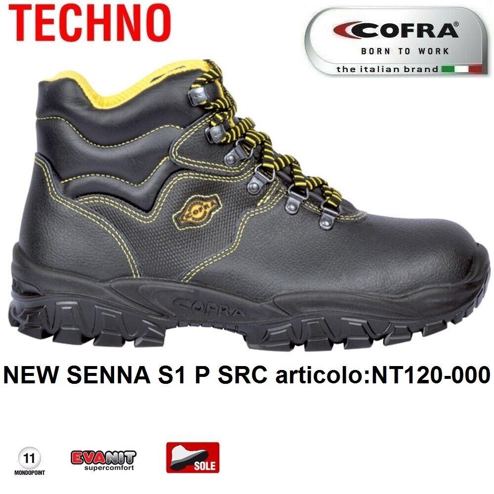 Scarpe Antinfortunistiche COFRA linea TECHNO BASIC tipo polacco modello NEW SENNA S1 P SRC pelle stampata NT120 000 CALZATURE COFRA