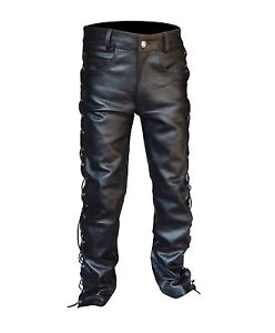 ARD-Men-039-s-Thick-Cow-Leather-Side-Laces-Jeans-Model-Pant-New-Sizes-28-034-to-46-034