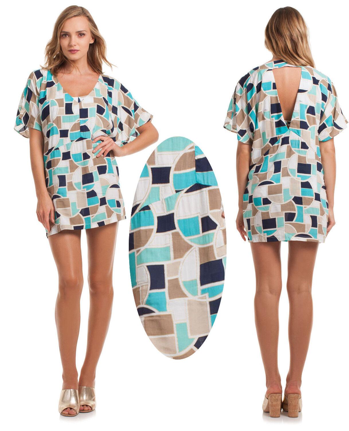 Trina Turk Disco Deco Geometrisk kimono Tunic baddräkt Cover Up Dress L