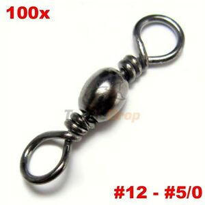 100x-Barrel-Swivel-Strong-Fishing-Line-Connector-Solid-Rings-Lot-Steel-USA-Ship