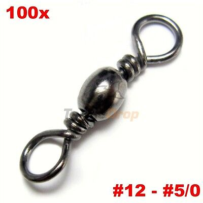 100x #2 Barrel Swivel 100LB Strong Fishing Line Connector Solid Rings USA Ship!