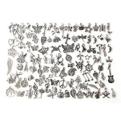 Wholesale 100pcs Bulk Lots Tibetan Silver Mix Charm Pendants Jewelry DIY UD