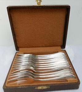Douze-fourchettes-a-dessert-Metal-argente-Alfenide-Ecrin-d-039-origine-Debut-XXe