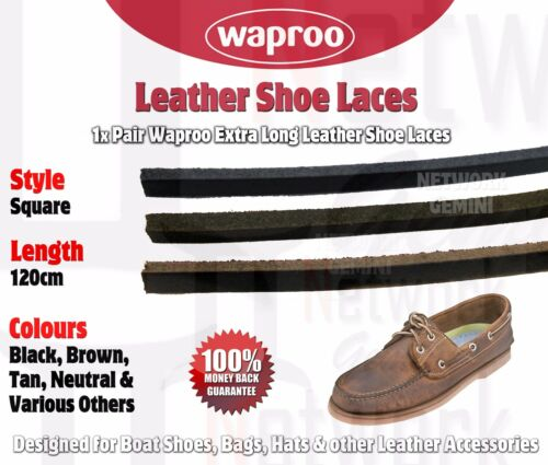 WAPROO LEATHER SHOELACES 120CM BOAT SHOES HATS Black Brown Tan shoe lace