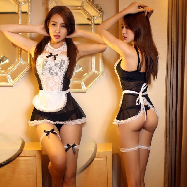 2188e42a34 Lace Servant Girl Maid Costumes Women Sexy Lingerie 6Pcs Set Sexy Apron  G-string