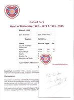 DONALD PARK HEART OF MIDLOTHIAN 1972-1979 ORIGINAL HAND SIGNED CUTTING/CARD