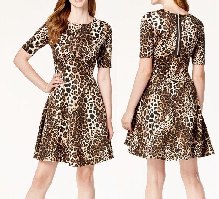 Karen Kane 3L86521 braun Leopard Stretch Scuba Exposed Zip Fit Flare Dress,